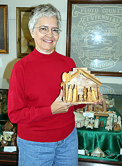 Carolyn with the Nativity Display