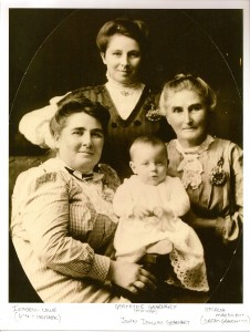Gertrude Nettie Perkins Gearhart, Isabell Lowe, and Ophelia McKilrick with John Douglas Gearhart