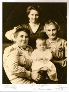 Gertrude Nettie Perkins Gearhart, Isabell Lowe, and Ophelia McKilrick with John Douglas Gearhart