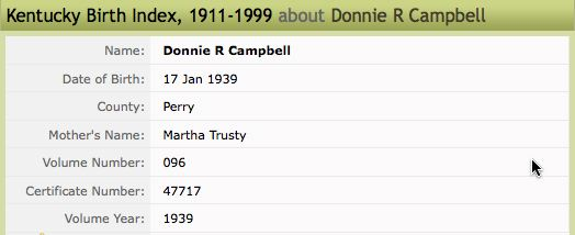 Birth record for Donnie R. Campbell