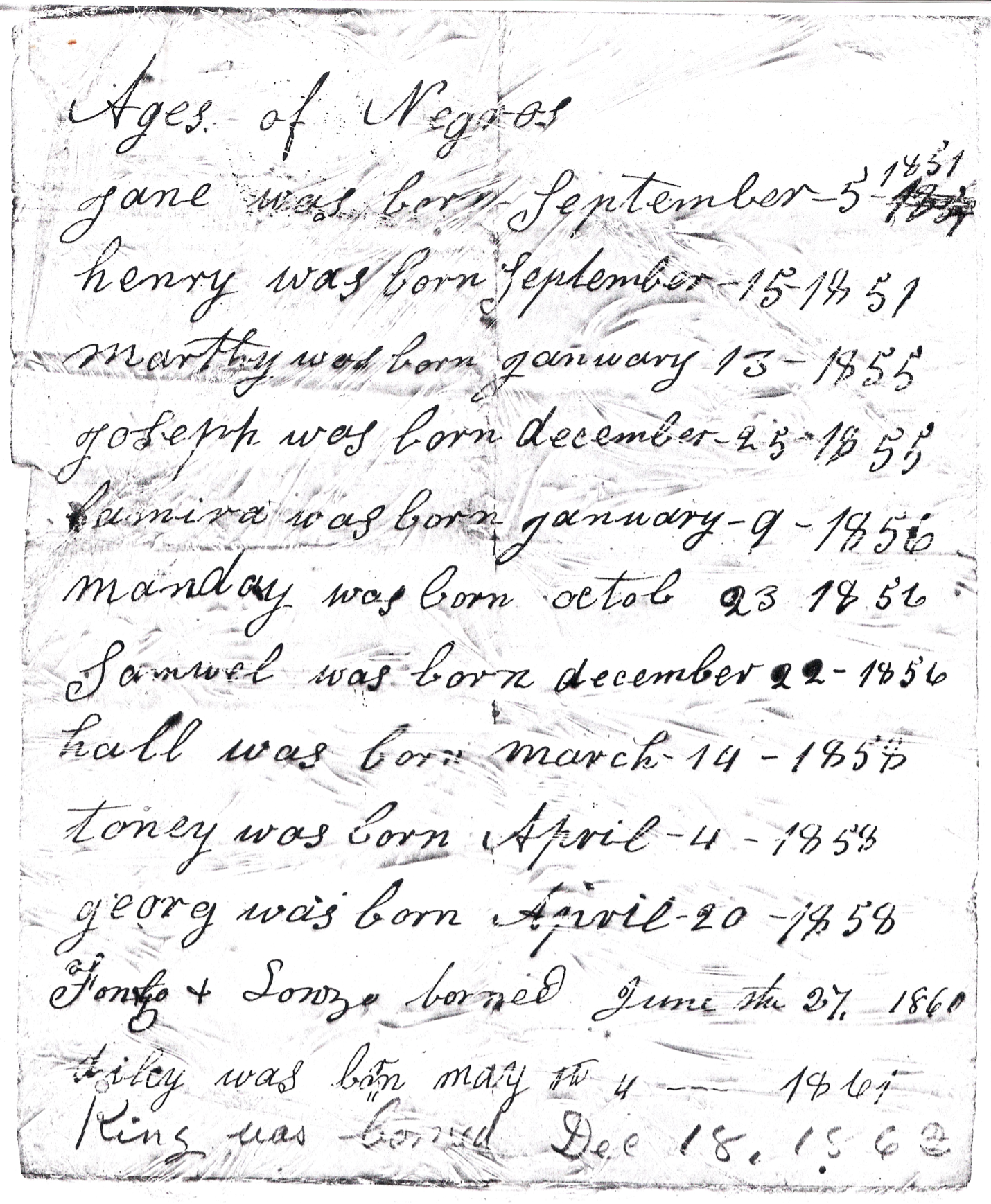 Palmer: Births of Enslaved People